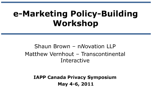 eMarketing Policy Building Workshop Slides