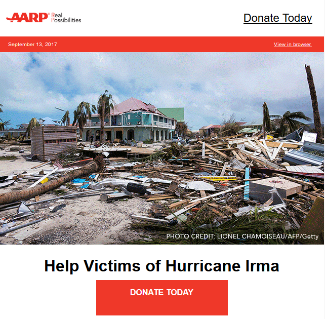 AAPR Disaster email example image
